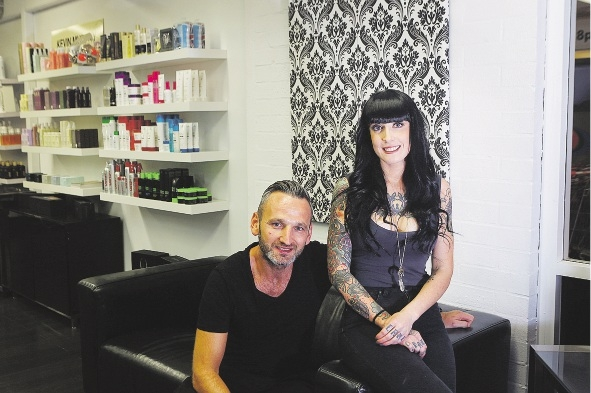 Hairdresser Sian Bennett with her employer, DavidLee Hairdressing owner Lee Fletcher, who is sponsoring her trip. Picture: Emma Goodwin