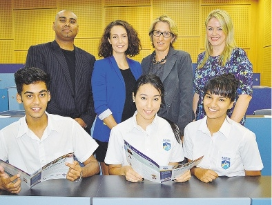 Jeremy Chetty, Emma Caruso (both Student Edge), Lynne Makin (Ashdale SC), Vicki Hodgson (National Careers Week), with students Harshil Patel, Isabelle Said and Ellie Shenton.