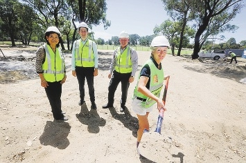Councillors Anh Truong, Domenic Zappa, Brett Treby and Mayor Tracey Roberts at the community centre  site.