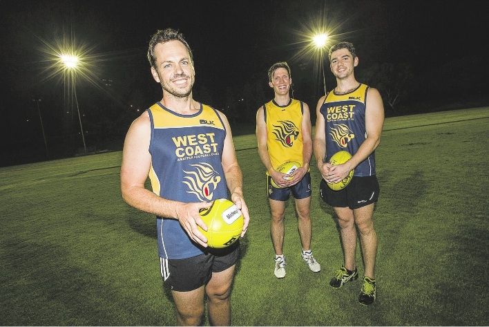 Tigers president Sam Birmingham with vice-president Scott Garvey and co-captain Cameron McKay.