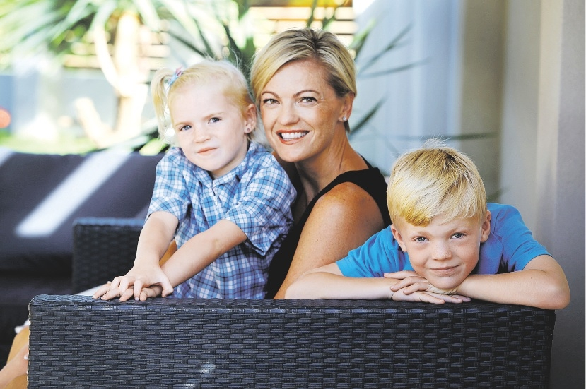 Dawn Gleeson with daughter Shae (5) and son Taj (6). Picture: Emma Goodwin