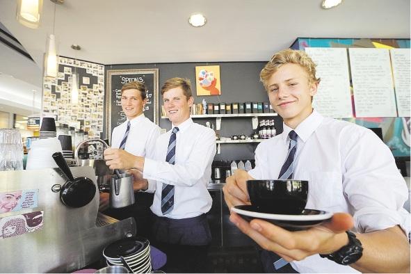 Full of beans: baristas Matthew Haddin, Nicholas Kelly and Mitchell Pratt.