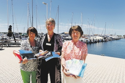 West Coast View Club's Diane Cook, president Jean Newstead and Margaret Jervis. Picture: Emma Goodwin
