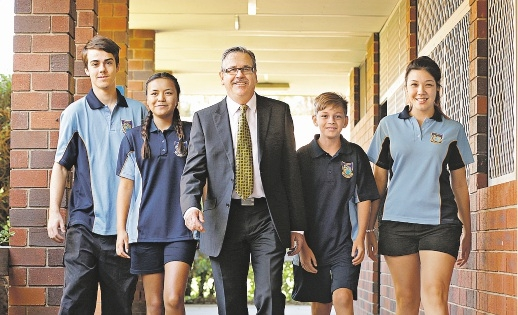 Principal Gary Anderson  with students Tyler Coombs, Jacinta Thompson, Corey Brown and Mel Guest. Picture: Elle Borgward