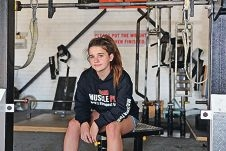 Weightlifter Amie Coe in the gym room, where all the hard work takes place. Picture: Martin Kennealey d429172