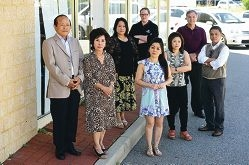 Mirrabooka business owners Tuyen Tran, Dau Tran, Vivian Tran, Marie Lowick, Zerlina Nguyen, Serena Tran, Keith Jacob and Tri Le. Picture: Marcus Whisson www.communitypix.com.au d427970
