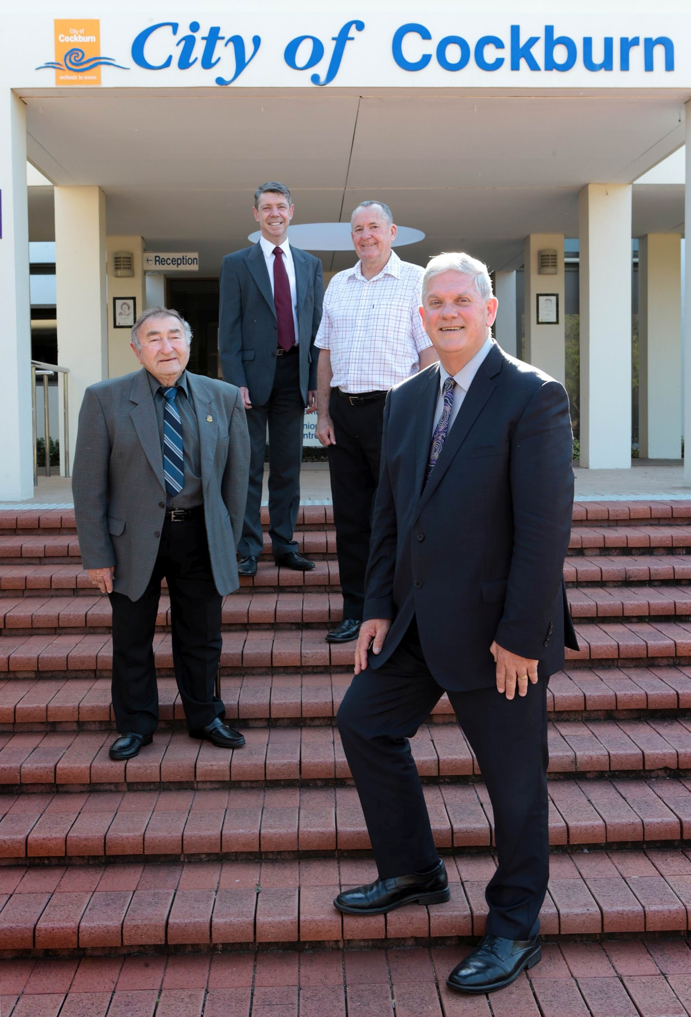 Former Shire clerk Tony Armarego, CEO Stephen Cain, former Shire Clerk Rod Brown and Mayor Logan Howlett. d427742