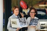 WA Women's Football League founder Joanne Huggins with exhibition organiser Brunette Lenkic. d427600