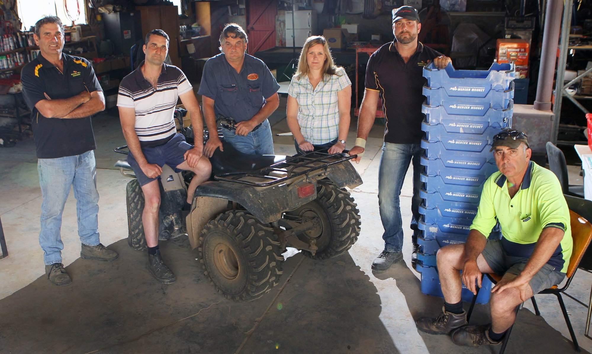Hills fruit growers Jim DelSimone, Anthony Caccetta, Steve Ghilarducci, Wilma Byl, Brett DelSimone and John Di Marco. Picture: Marcelo Palacios d427892