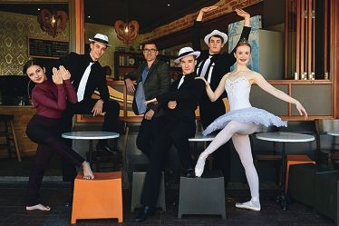 City of Vincent Mayor John Carey with Charlesworth Ballet Institute performers, from left, Kirra Treg, Jacob Noble, Aiden Foster, Noah Beck and Laila Mackay-Williams.