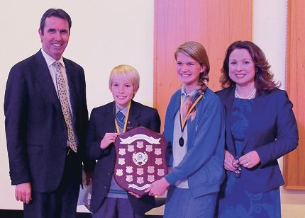 Education Minister Peter Collier, students Willem Lamers and Charlotte Bridge, and MLA Eleni Evangel.