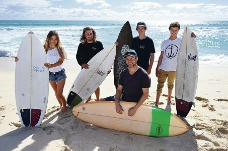 Groundswell Surf Festival event manager Derek Gerrard (centre) with, from left, Laine Hoffman, Tom Dempers, Leighton Bradfield and Darcy Blume [NAMES OK]