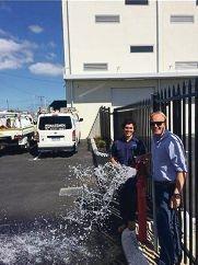 Plumbing apprentice Jake Anderson and his employer Trent Dorrington.