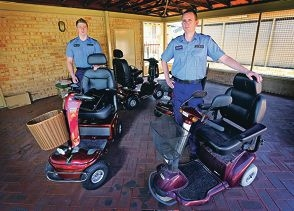 Constable Lloyd Stanton and Sgt Shane Markham from Belmont Police Station. Four gophers from the Faulkner Park Retirement Village in Cloverdale were stolen and damaged. Picture: David Baylis www.communitypix.com.au d427828