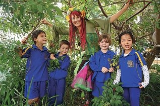 Faerie Cara with Dalmain pre-primary school students (from left) Ben Fourie, Louis Ovens, Anabella Neal and Grace Chang. Picture: Marcus Whisson d426491