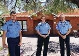 Sgt Chris Fox with Senior Sergeant Kate Vivian and District Superintendent Peter De La Motte. d427462
