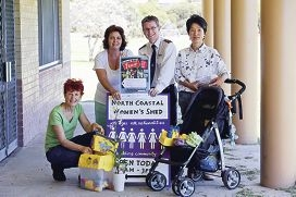 Peg Davies, Gerry Sheldon, Captain Scott Elery and Ja-On Park of the North Coast Women's Shed and Salvation Army Merriwa are inviting more people to set up stalls for garage sales.d427659