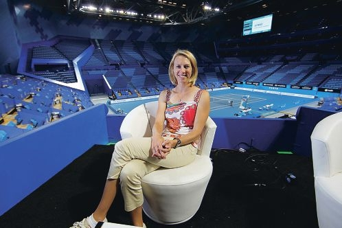 Alicia Molik gets ready for the Hopman Cup at Perth Arena.