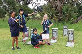 Roseworth Primary School film students Eden, Tony, Mithil and Gemma capture the action for their short film encouraging young people not to smoke.