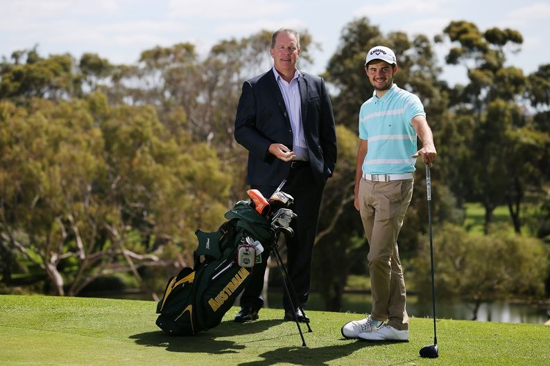 Cottesloe Golf Club chief executive Troy O'Hern with WA Open competitor Curtis Luck.