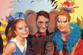 Chloe Marlow, Ben Del Borello and Julia Young in Seussical Jr.