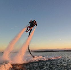 The water-propelled Jetpack, inspired by James Bond tales.