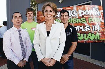 LtoR: Paul Hersey (CEO Perth South Coastal Medicare Local), Glenn Hatwell (HeadSpace Youth Advisory Committee), Michaelia Cash (Senator for WA), Heath Black (Headspace Ambassador)