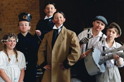Armadale Primary School students, from left, Kyla Gilberton, Georgia Parry, Patric Sorbello, Joel Lambert, Brendan Schottli and Bai Belingher act out a scene from the school's award winning production Liquid Gold.
