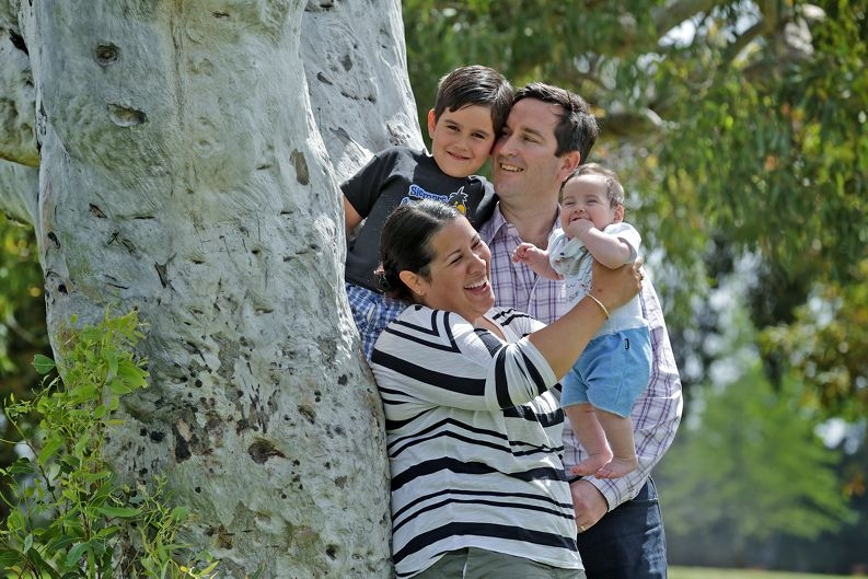 David and Claudia Bagworth (Bull Creek) and their sons Diego (5) and Noah (5-months). Picture: Martin Kennealey www.communitypix. com.au d426784