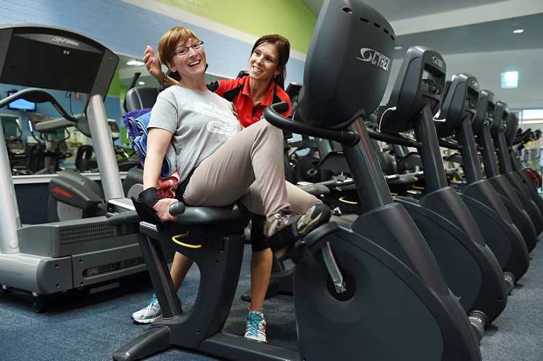Amanda Langton, pictured here with Pauline Watkins, is raising awareness of how exercise can help people with cerebral palsy. Picture: Marcus Whisson d426991