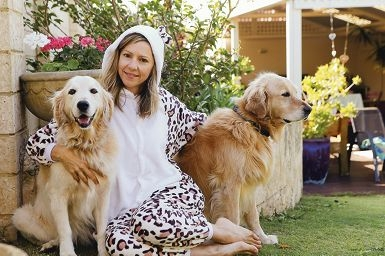 Deida Nicholls with her dogs Bella and Peppi. Picture: Emma Goodwin www.communitypix.com.au d426982