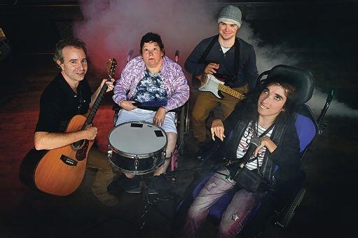 VIP Rocks coordinator Nigel Healy (left) with drummer Karina, guitarist David and vocalist Marissa at The Shed in Northbridge.