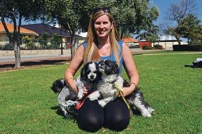 Tracey Rees with Beau (left) and Scrappy.