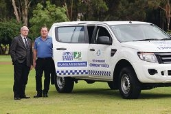 Mayor Phil Marks and deputy mayor Robert Rossi with the new |Community Watch patrol car. Picture: Martin Kennealey d427029