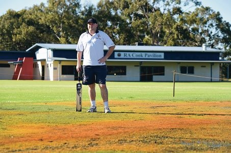 Bedford-Morley Cricket Club president Travis Rawlins on the vandalised RA Cook Reserve cricket pitch. Picture: Marcus Whisson www.communitypix.com.au d426966