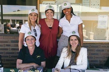 Front: Teresa Livingston, Rosi Gleeson, Back: Livia Pacobello, Bev Letton, Priscilla Moreira (NAMES OK) at Wanneroo Business Association golf day