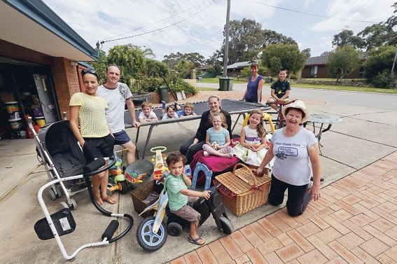 Karen Thompson (far right) and her neighbours are taking part in the Garage Sale Trail.