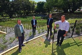Dan Cunningham of ACE, landscape architect Myles Busbridge, engineer Martin Coyle and parks manager Jeremy van den Bok. d426762