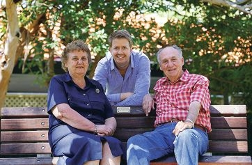 Cockburn councillor Stephen Pratt (back) with Regina Colaizzi and her brother Ugo De Marchi.
