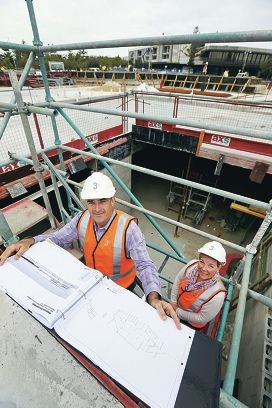 Owner Bob Hindle and manager Chantelle Brain check on progress. Picture: Emma Goodwin www.communitypix.com.au d42660