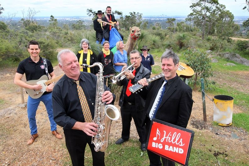 Hills Big Band members get ready for Walk the Zig Zag this weekend. Picture: Bruce Hunt d426596