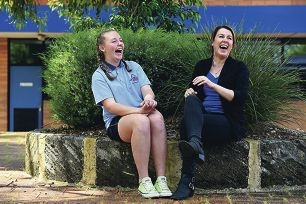 Lockridge Senior High School Year 10 student Nicole Annakin and her mentor Sharon Campbell share a laughPicture: Marcus Whisson d426487