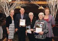 Mayor Tracey Roberts, retiring volunteer Robert Jones, Angie Beck, Peggy Carter and community development director Fiona Bentley.