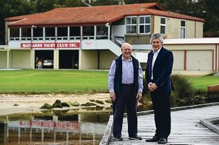 Outgoing Maylands Yacht Club patron Terry Gaunt with his successor, former federal member for Perth, Stephen Smith.Picture: Marcus Whisson www.communitypix.com.au d426572