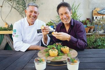 Right: WA food ambassador Don Hancey and Doctor Joe Kosterich with a ricotta and goat cheese tart and chocolate brownie panna cotta (above). |Pictures: Andrew Ritchie d426292