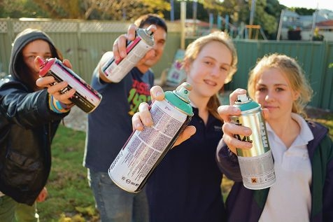 Josh Higgs, Ryan Scott, Topaz Knodel and Rachael Stott at a workshop ahead of the respraying project. Picture: Sophie Gabrielle