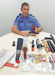 Sgt Bruce McDonald with some of the items.