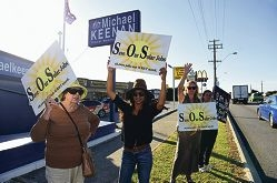 Protesters outside the federal member for Stirling Michael Keenan's electorate office [NAMES OK]