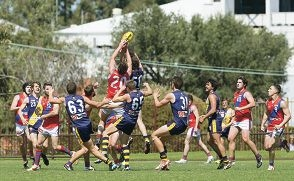 Players contest possession in West Perth's preliminary final win over Claremont. Picture: Dan White