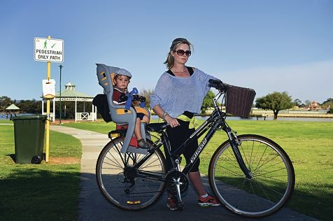 Nara-Beth Bonfiglio with her son Ryder. Picture: Marcus Whisson d426268
